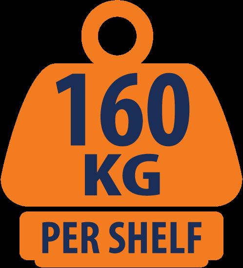 Heavy Duty 5 Tier Chrome Corner Storage Unit 115KG UDL – 1500mm H x 350mm W x 350mm D