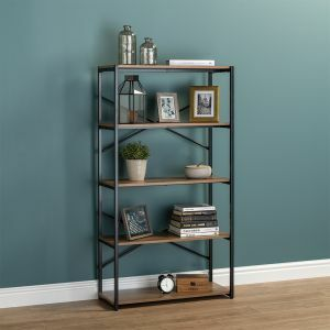 5 Tier Contemporary Industrial Bookcase Shelving Oak Style Finish & Matt Black Metalwork - 1480mm H x 800mm W x 340mm D