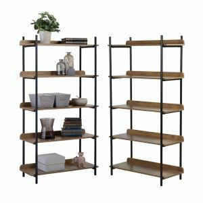 2 x 5 Tier Contemporary Industrial Bookcase Shelving Oak Style Finish & Matt Black Metalwork - 1500mm H x 800mm W x 345mm D