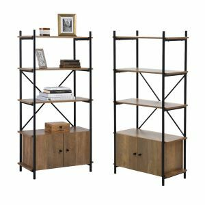 2 x 4 Tier Contemporary Industrial Bookcase Shelving With Cupboard Oak Style Finish & Matt Black Metalwork - 1410mm H x 700mm W x 345mm D