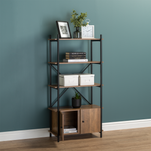 4 Tier Contemporary Industrial Bookcase Shelving With Cupboard Oak Style Finish & Matt Black Metalwork - 1410mm H x 700mm W x 345mm D