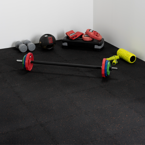 Single Garage Gym Interlocking Recycled PVC Flooring 72 Tile Kit - 500mm x 500mm x 11mm