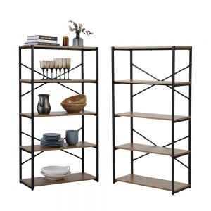 2 x 5 Tier Contemporary Industrial Bookcase Shelving Oak Style Finish & Matt Black Metalwork - 1480mm H x 800mm W x 340mm D
