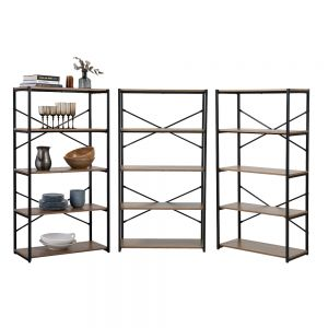 3 x 5 Tier Contemporary Industrial Bookcase Shelving Oak Style Finish & Matt Black Metalwork - 1480mm H x 800mm W x 340mm D