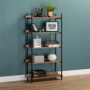 5 Tier Contemporary Industrial Bookcase Shelving Oak Style Finish & Matt Black Metalwork - 1500mm H x 800mm W x 345mm D