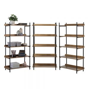 3 x 5 Tier Contemporary Industrial Bookcase Shelving Oak Style Finish & Matt Black Metalwork - 1500mm H x 800mm W x 345mm D