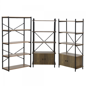 2 x 4 Tier Contemporary Industrial Bookcase Shelving With Cupboard & 1 x Storage Bookcase Oak Style Finish & Matt Black Metalwork