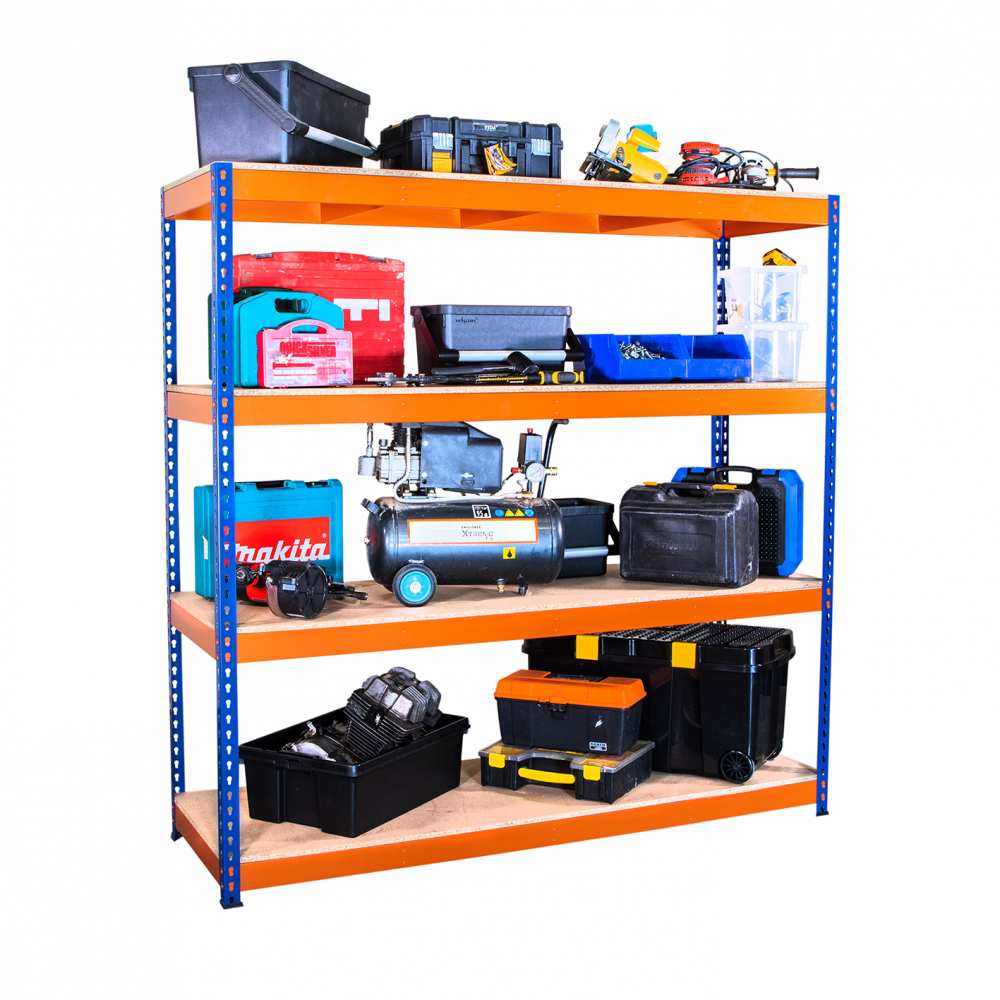 Heavy Duty Shelving Racking Blue And Orange 4 Levels 1800mm X 1800mm X 600mm Racking Solutions