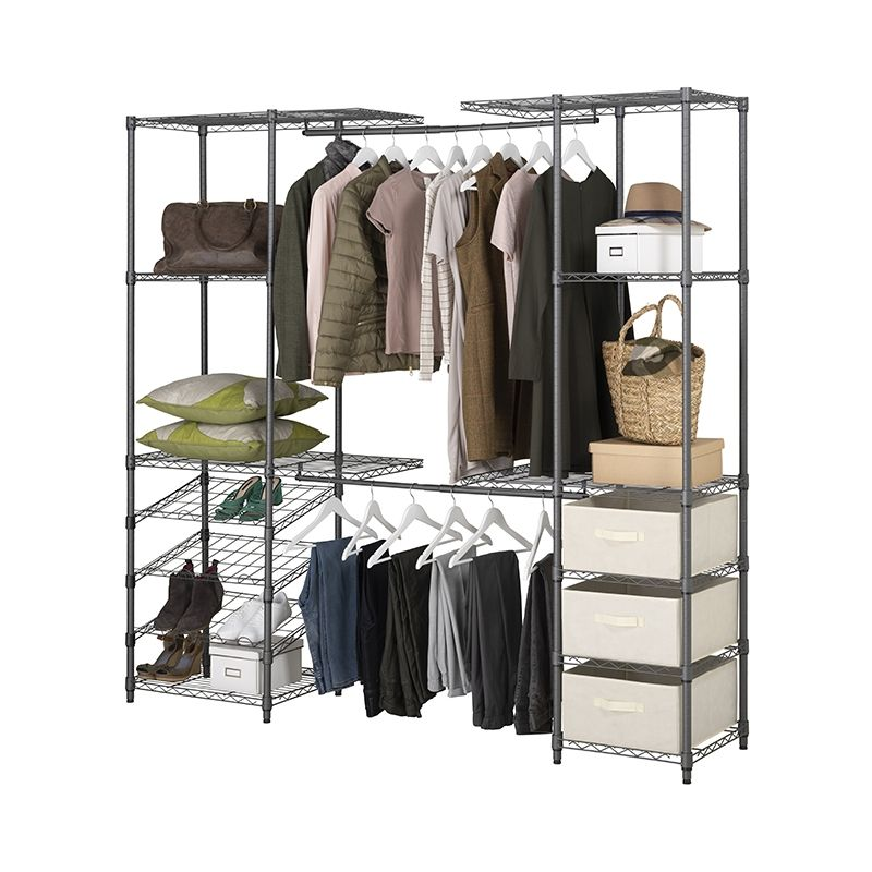 Extendable Grey Wardrobe Clothes Rail, Storage For Clothes